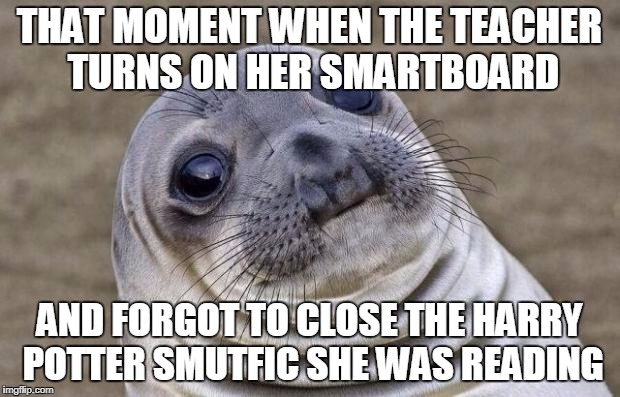 Awkward Moment Sealion Meme | THAT MOMENT WHEN THE TEACHER TURNS ON HER SMARTBOARD AND FORGOT TO CLOSE THE HARRY POTTER SMUTFIC SHE WAS READING | image tagged in memes,awkward moment sealion,teachers,funny,the look on her face was hilarious,oh crap | made w/ Imgflip meme maker