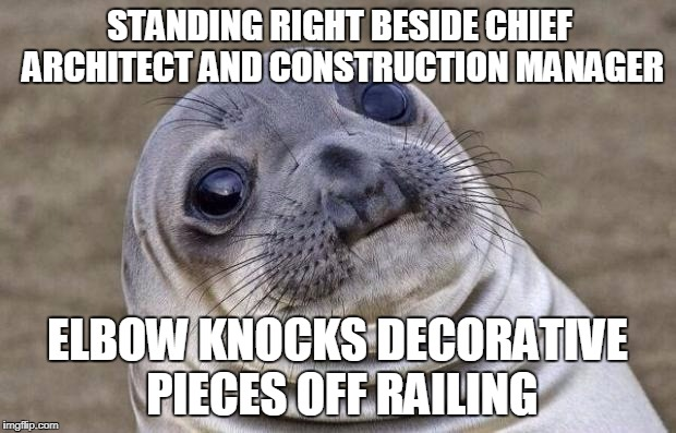 Awkward Moment Sealion Meme | STANDING RIGHT BESIDE CHIEF ARCHITECT AND CONSTRUCTION MANAGER ELBOW KNOCKS DECORATIVE PIECES OFF RAILING | image tagged in memes,awkward moment sealion,AdviceAnimals | made w/ Imgflip meme maker