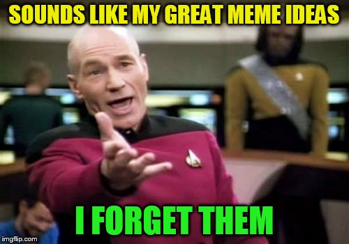 Picard Wtf Meme | SOUNDS LIKE MY GREAT MEME IDEAS I FORGET THEM | image tagged in memes,picard wtf | made w/ Imgflip meme maker