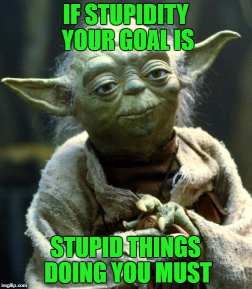 Star Wars Yoda Meme | IF STUPIDITY YOUR GOAL IS STUPID THINGS DOING YOU MUST | image tagged in memes,star wars yoda | made w/ Imgflip meme maker