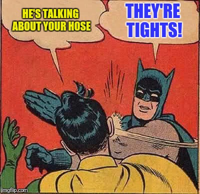 Batman Slapping Robin Meme | HE'S TALKING ABOUT YOUR HOSE THEY'RE TIGHTS! | image tagged in memes,batman slapping robin | made w/ Imgflip meme maker