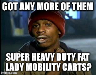 Y'all Got Any More Of That Meme | GOT ANY MORE OF THEM SUPER HEAVY DUTY FAT LADY MOBILITY CARTS? | image tagged in memes,yall got any more of | made w/ Imgflip meme maker