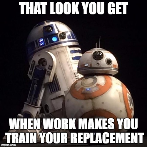 R2-D2 and BB-8 | THAT LOOK YOU GET WHEN WORK MAKES YOU TRAIN YOUR REPLACEMENT | image tagged in memes,star wars,r2d2,bb8,work,disney | made w/ Imgflip meme maker