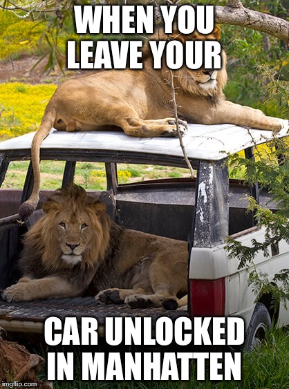 WHEN YOU LEAVE YOUR CAR UNLOCKED IN MANHATTEN | image tagged in covered | made w/ Imgflip meme maker