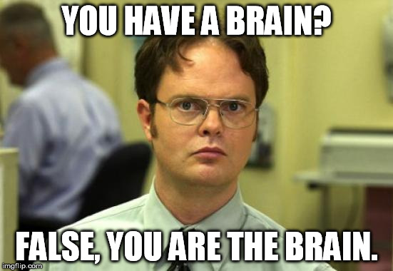 YOU HAVE A BRAIN? FALSE, YOU ARE THE BRAIN. | made w/ Imgflip meme maker