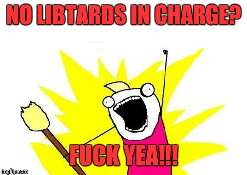 X All The Y Meme | NO LIBTARDS IN CHARGE? F**K YEA!!! | image tagged in memes,x all the y | made w/ Imgflip meme maker