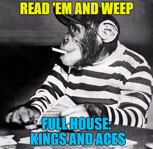 Which is how I lost everything... :) | READ 'EM AND WEEP FULL HOUSE: KINGS AND ACES | image tagged in poker chimp,memes,cards,animals | made w/ Imgflip meme maker