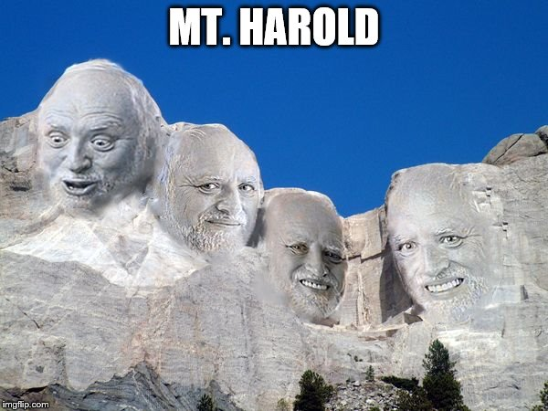 MT. HAROLD | image tagged in harold mt rushmore | made w/ Imgflip meme maker