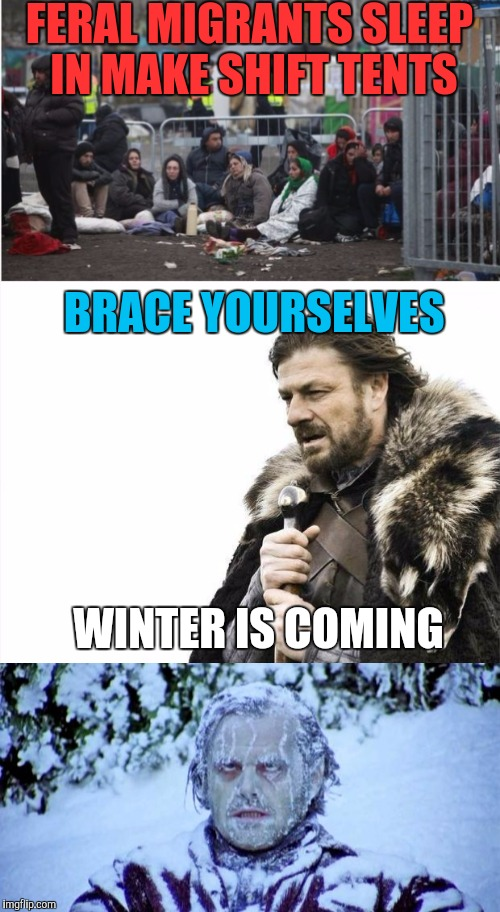 Just Sad! :) | FERAL MIGRANTS SLEEP IN MAKE SHIFT TENTS BRACE YOURSELVES WINTER IS COMING | image tagged in memes,brace yourselves x is coming,migrants,the shining | made w/ Imgflip meme maker