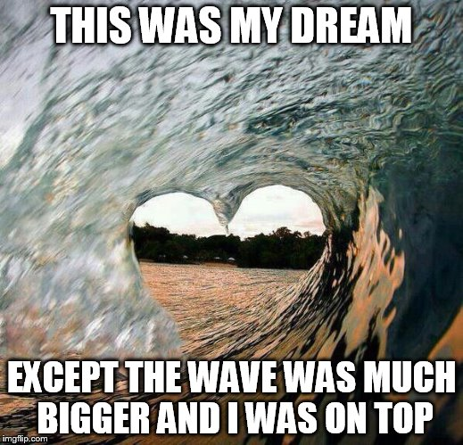 TCS - Wave Heart | THIS WAS MY DREAM EXCEPT THE WAVE WAS MUCH BIGGER AND I WAS ON TOP | image tagged in tcs - wave heart | made w/ Imgflip meme maker