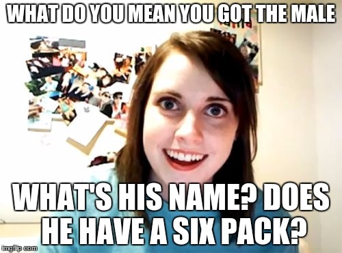 before she had a boyfriend. | WHAT DO YOU MEAN YOU GOT THE MALE WHAT'S HIS NAME? DOES HE HAVE A SIX PACK? | image tagged in memes,overly attached girlfriend | made w/ Imgflip meme maker