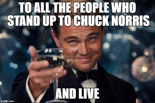 Leonardo Dicaprio Cheers Meme | TO ALL THE PEOPLE WHO STAND UP TO CHUCK NORRIS AND LIVE | image tagged in memes,leonardo dicaprio cheers | made w/ Imgflip meme maker