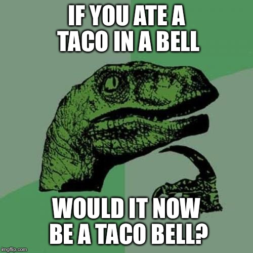 Philosoraptor Meme | IF YOU ATE A TACO IN A BELL WOULD IT NOW BE A TACO BELL? | image tagged in memes,philosoraptor | made w/ Imgflip meme maker