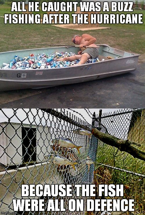 I hope nobody finds this o-fence-ive... | ALL HE CAUGHT WAS A BUZZ FISHING AFTER THE HURRICANE BECAUSE THE FISH WERE ALL ON DEFENCE | image tagged in fishing,hurricane,drunk,go home youre drunk,self defense | made w/ Imgflip meme maker