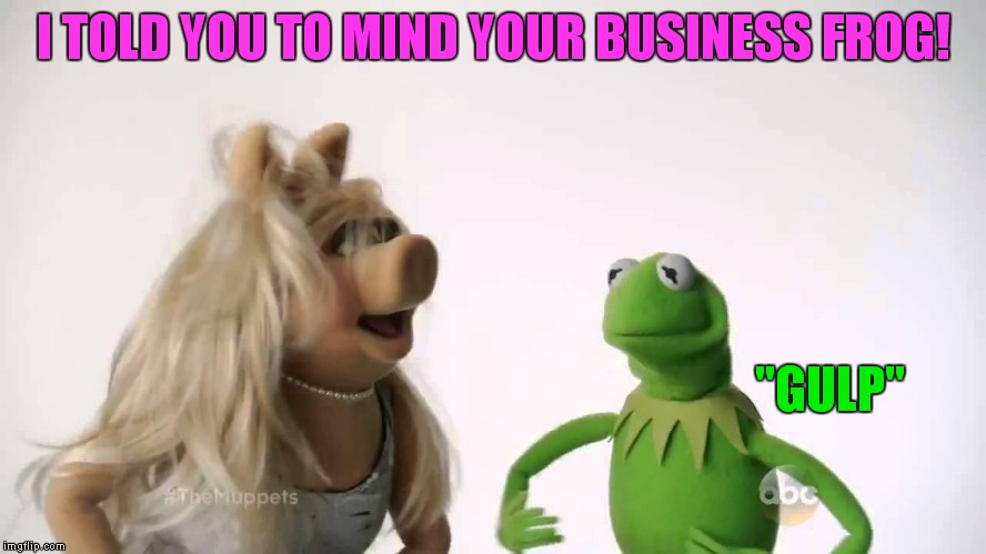 "I TOLD YOU TO MIND YOUR BUSINESS FROG! ""GULP"" 