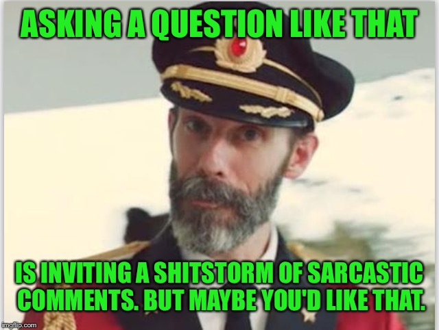 ASKING A QUESTION LIKE THAT IS INVITING A SHITSTORM OF SARCASTIC COMMENTS. BUT MAYBE YOU'D LIKE THAT. | made w/ Imgflip meme maker