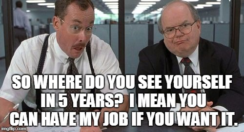 The Bobs | SO WHERE DO YOU SEE YOURSELF IN 5 YEARS?  I MEAN YOU CAN HAVE MY JOB IF YOU WANT IT. | image tagged in memes,the bobs | made w/ Imgflip meme maker