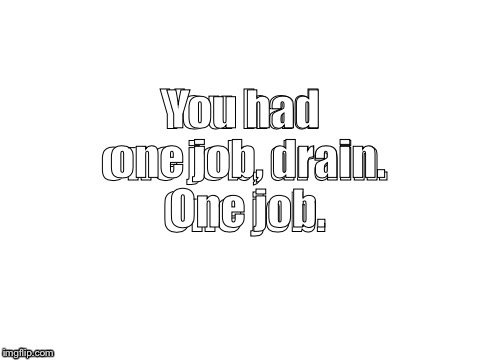 You had one job, drain. One job. | made w/ Imgflip meme maker