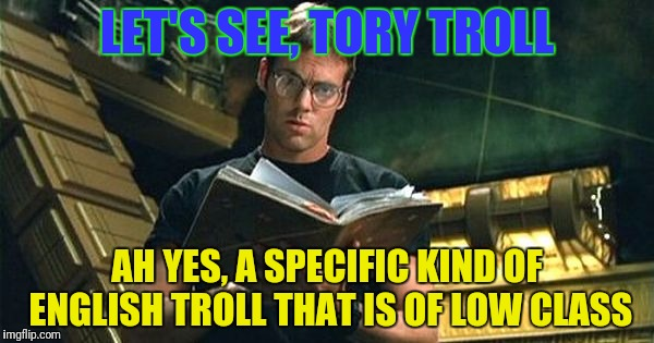 LET'S SEE, TORY TROLL AH YES, A SPECIFIC KIND OF ENGLISH TROLL THAT IS OF LOW CLASS | made w/ Imgflip meme maker