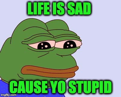 Pepe the Frog | LIFE IS SAD CAUSE YO STUPID | image tagged in pepe the frog | made w/ Imgflip meme maker