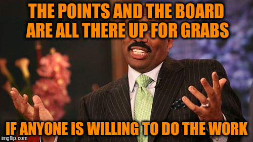 Steve Harvey Meme | THE POINTS AND THE BOARD ARE ALL THERE UP FOR GRABS IF ANYONE IS WILLING TO DO THE WORK | image tagged in memes,steve harvey | made w/ Imgflip meme maker