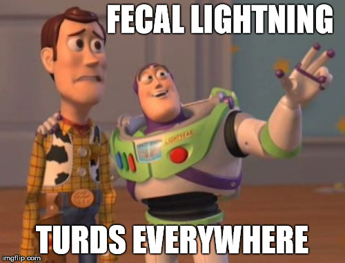X, X Everywhere Meme | FECAL LIGHTNING TURDS EVERYWHERE | image tagged in memes,x,x everywhere,x x everywhere | made w/ Imgflip meme maker