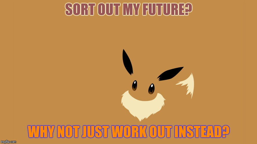 SORT OUT MY FUTURE? WHY NOT JUST WORK OUT INSTEAD? | made w/ Imgflip meme maker