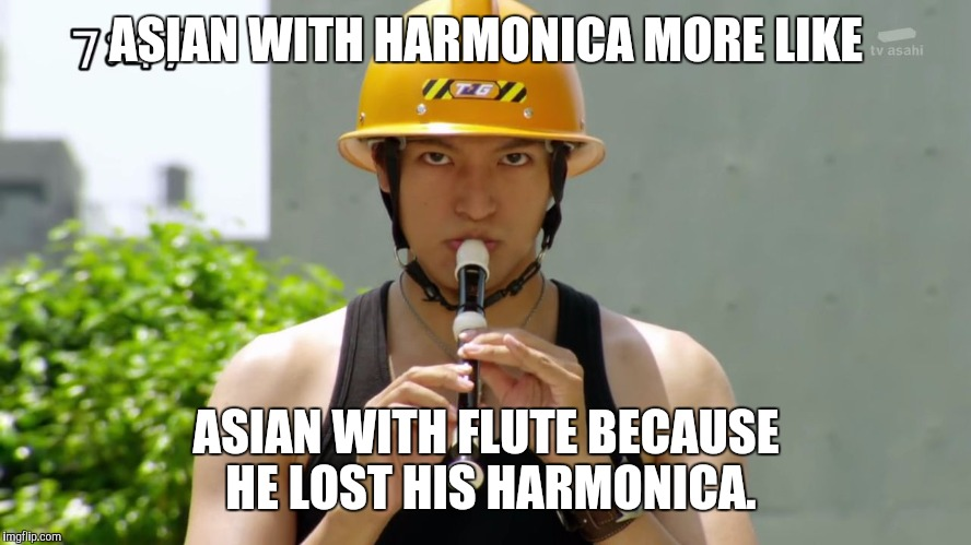 ASIAN WITH HARMONICA MORE LIKE ASIAN WITH FLUTE BECAUSE HE LOST HIS HARMONICA. | image tagged in akira playing a flute | made w/ Imgflip meme maker