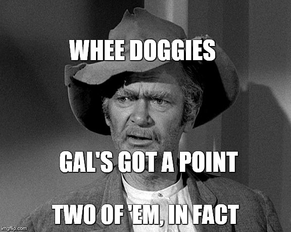 Jed Clampett | WHEE DOGGIES TWO OF 'EM, IN FACT GAL'S GOT A POINT | image tagged in jed clampett | made w/ Imgflip meme maker