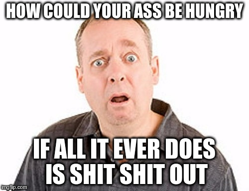 HOW COULD YOUR ASS BE HUNGRY IF ALL IT EVER DOES IS SHIT SHIT OUT | made w/ Imgflip meme maker