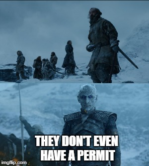 THEY DON'T EVEN HAVE A PERMIT | image tagged in white walker,protest | made w/ Imgflip meme maker