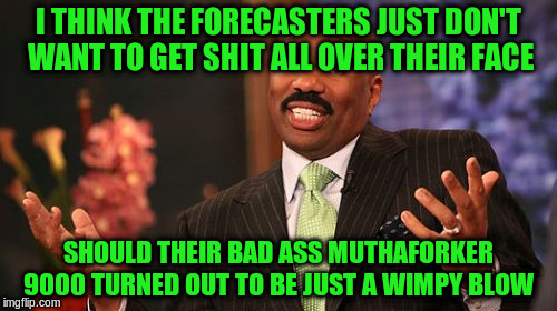 Steve Harvey Meme | I THINK THE FORECASTERS JUST DON'T WANT TO GET SHIT ALL OVER THEIR FACE SHOULD THEIR BAD ASS MUTHAFORKER 9000 TURNED OUT TO BE JUST A WIMPY  | image tagged in memes,steve harvey | made w/ Imgflip meme maker