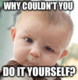 Skeptical Baby Meme | WHY COULDN'T YOU DO IT YOURSELF? | image tagged in memes,skeptical baby | made w/ Imgflip meme maker