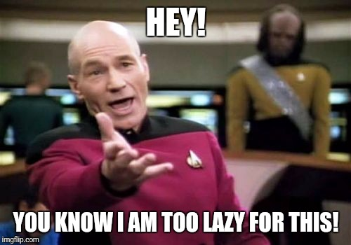 Picard Wtf Meme | HEY! YOU KNOW I AM TOO LAZY FOR THIS! | image tagged in memes,picard wtf | made w/ Imgflip meme maker