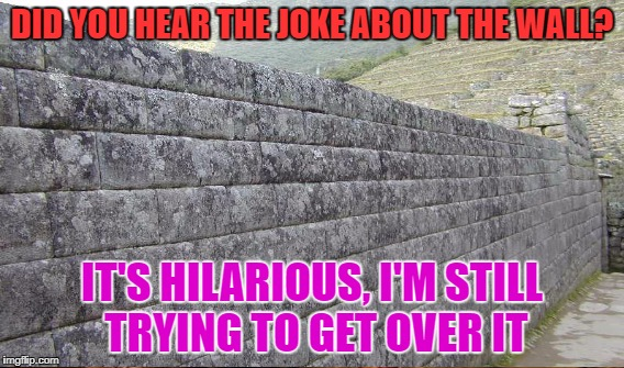 DID YOU HEAR THE JOKE ABOUT THE WALL? IT'S HILARIOUS, I'M STILL TRYING TO GET OVER IT | made w/ Imgflip meme maker