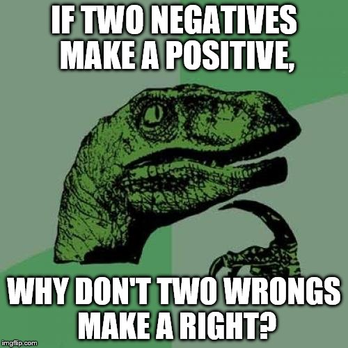 Philosoraptor Meme | IF TWO NEGATIVES MAKE A POSITIVE, WHY DON'T TWO WRONGS MAKE A RIGHT? | image tagged in memes,philosoraptor | made w/ Imgflip meme maker
