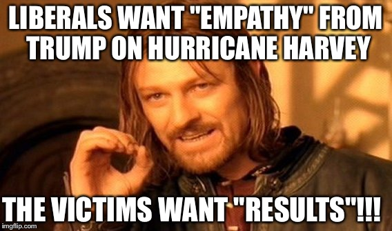 "One Does Not Simply Meme | LIBERALS WANT ""EMPATHY"" FROM TRUMP ON HURRICANE HARVEY THE VICTIMS WANT ""RESULTS""!!! 