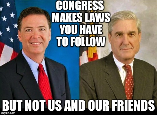 CONGRESS MAKES LAWS YOU HAVE TO FOLLOW BUT NOT US AND OUR FRIENDS | image tagged in comey and mueller 2 peas in a pod | made w/ Imgflip meme maker