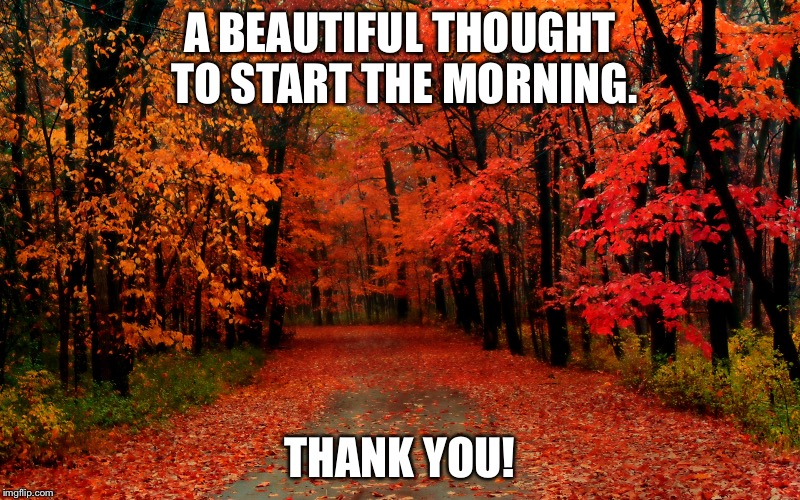 A BEAUTIFUL THOUGHT TO START THE MORNING. THANK YOU! | made w/ Imgflip meme maker