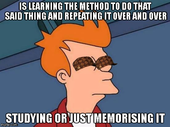 How i think at school | IS LEARNING THE METHOD TO DO THAT SAID THING AND REPEATING IT OVER AND OVER STUDYING OR JUST MEMORISING IT | image tagged in memes,futurama fry,scumbag | made w/ Imgflip meme maker