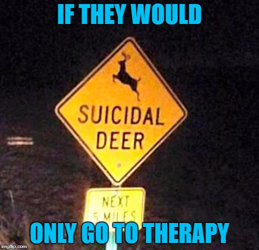 They should have a hotline... | IF THEY WOULD ONLY GO TO THERAPY | image tagged in suicidal deer,memes,signs,funny,funny signs,animals | made w/ Imgflip meme maker