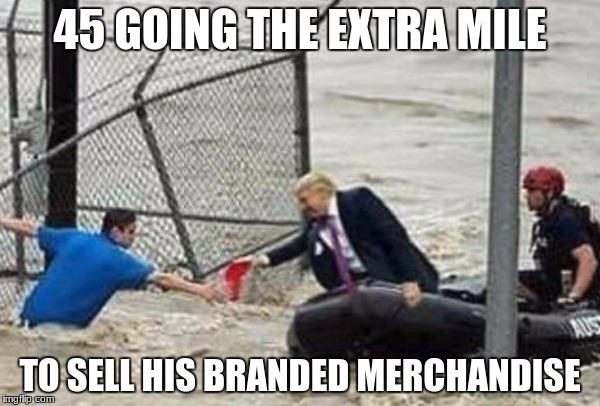 extra mile | 45 GOING THE EXTRA MILE TO SELL HIS BRANDED MERCHANDISE | image tagged in trump,houston,flood,hat | made w/ Imgflip meme maker
