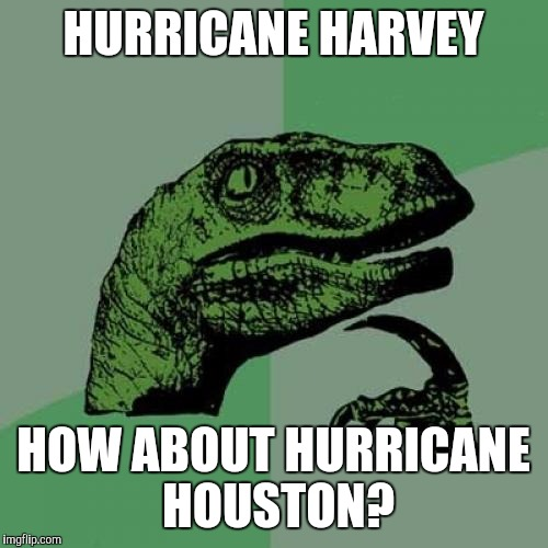 Philosoraptor Meme | HURRICANE HARVEY HOW ABOUT HURRICANE HOUSTON? | image tagged in memes,philosoraptor | made w/ Imgflip meme maker