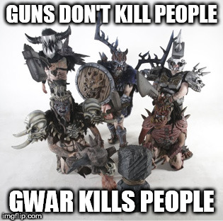 GUNS DON'T KILL PEOPLE GWAR KILLS PEOPLE | image tagged in gwar,guns,kill,killing,people,humans | made w/ Imgflip meme maker