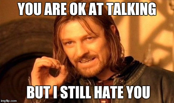 One Does Not Simply Meme | YOU ARE OK AT TALKING BUT I STILL HATE YOU | image tagged in memes,one does not simply | made w/ Imgflip meme maker