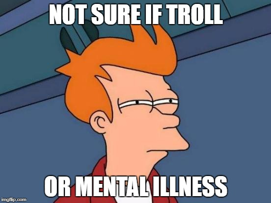 Reading the comments section be like | NOT SURE IF TROLL OR MENTAL ILLNESS | image tagged in memes,futurama fry | made w/ Imgflip meme maker