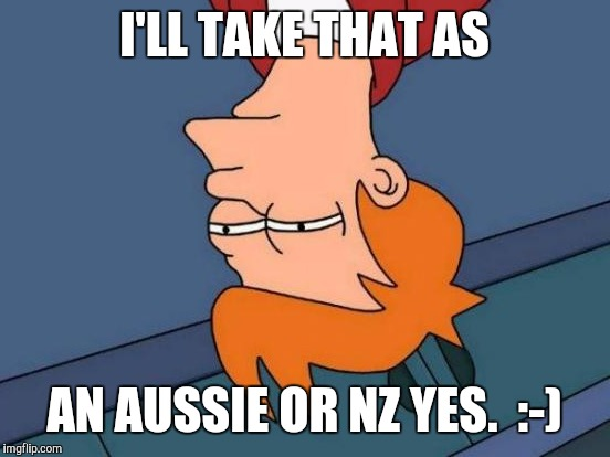 Futurama Fry Meme | I'LL TAKE THAT AS AN AUSSIE OR NZ YES.  :-) | image tagged in memes,futurama fry | made w/ Imgflip meme maker