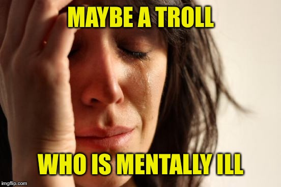 First World Problems Meme | MAYBE A TROLL WHO IS MENTALLY ILL | image tagged in memes,first world problems | made w/ Imgflip meme maker