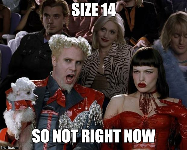 Mugatu So Hot Right Now Meme | SIZE 14 SO NOT RIGHT NOW | image tagged in memes,mugatu so hot right now | made w/ Imgflip meme maker