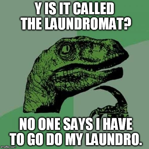 why do you think ?  | Y IS IT CALLED THE LAUNDROMAT? NO ONE SAYS I HAVE TO GO DO MY LAUNDRO. | image tagged in memes,philosoraptor,laundry,why | made w/ Imgflip meme maker